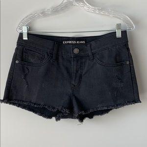 Express grey denim shorts